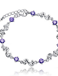 Ladies' Silver Chain With Cubic Zirconia Bracelet