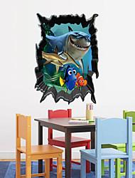 3d adesivos de parede estilo decalques de parede a parede do mundo subaquático tubarões adesivos em pvc