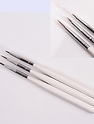 3PCS Painting Drawing Pen Brush White Handle Kits