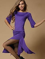Latin Dance Outfits Women's Simple/Comfort Training Polyester Pleated Outfit Black/Red/Purple