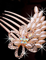 Fashion Rose Alloy Pearl Hair Comb for Women, Weddding Hair Accessories with Pearl for Flower Girls