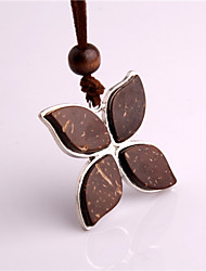 Lovely Clover Flower Vintage/Party/Casual Alloy/Cubic Zirconia/Resin Diamond Coconut Husks Pendant Necklace