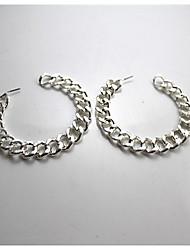 Big Linked Chain Silver Earrings