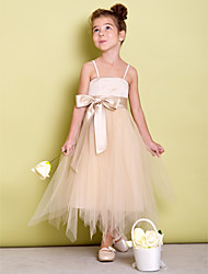 LAN TING BRIDE Dress A-line Spaghetti Straps Asymmetrical Satin Tulle with Bow(s) Sash / Ribbon