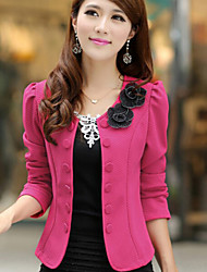Ava Women's Floral Pink / White / Black Coats & Jackets , Bodycon / Casual Tailored Collar Long Sleeve