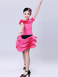 Latin Dance Performance Outfits Children's Sweet Performance Polyester Tassel Outfit Fuchsia Kids Dance Costumes