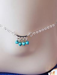 mulheres do corpo de moda jóias charme do verão da praia do vintage borlas liga casuais azuis tornozeleiras pérola