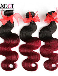 """3 Pcs Lot 14""""-28"""" Ombre Brazilian Body Wave Virgin Remy Human Hair Extensions/Weaves 2 Two Tone Burgundy Wine Red 1B/99J"""