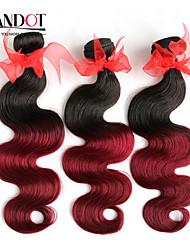 """3 PC sortean 14 """"-28"""" Extensiones de cabello humano ombre onda del cuerpo brasileño remy virginal teje / 2 burdeos dos tonos vino tinto 1b"""