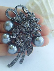 Women Accessories Gray Pearl Rhinestone Bridal Brooch Art Deco Bridal Bouquet Wedding Brooch Bridal Jewelry