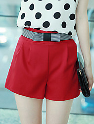Women's Blue/Red/White Shorts Pants , Casual Button