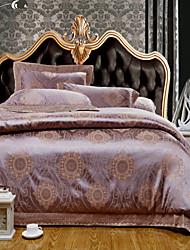 4-Piece The high-end Floral Jacquard Cotton Queen Duvet Cover Sets