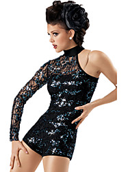 Jazz Dancewear Adults' Children's Sequined Lace One Sleeve Leotard