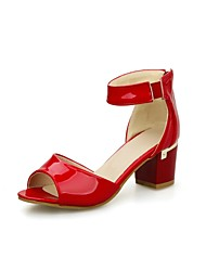 Women's Shoes Patent Leather Chunky Heel Peep Toe/Ankle Strap/Sandals Dress/Black/Blue/Red