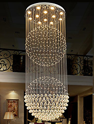 LED Pendant Light Modern Crystal Chandelier 12 Lights Silver Canpoy Clear Crystal Globe Ceiling Lamps Fixtures H100CM