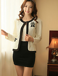 Women's Round Coats & Jackets , Polyester Work Long Sleeve HNSP