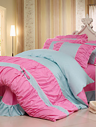 Yuxin®Korean Cotton Bedding A Family of Four  Cotton Floral  Bow Pastoral Princess  Queen/King  Size
