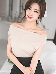 Women's Party/Work Micro-elastic Sleeveless Loose Cross Back T-shirt (Cotton/Spandex)