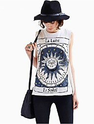 New 2015 Women Tops Unique Letter Sun Moon Tribe Totem Printed Casual Sleeveless Cotton Blends Punk Tshirt