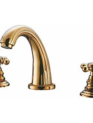 Widespread Two Handles Three Holes in Ti-PVD Bathroom Sink Faucet