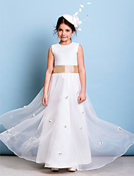 Floor-length Organza Junior Bridesmaid Dress - Ivory A-line Jewel