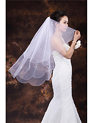Wedding Veil Two-tier Fingertip Veils Scalloped Edge