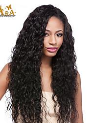 """8 """"-26"""" indio sin cola rizada llena del cordón del color de la peluca del pelo virginal negro con el pelo del bebé para las mujeres negras"""
