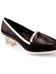 Shepherdess new black leather shoes diamond metal square head mixed colors party girl with light-colored shoes Peas