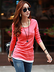 Women's Casual/Daily Simple / Street chic Summer T-shirt,Solid Round Neck Long Sleeve Blue / Red / White / Black Nylon Thin