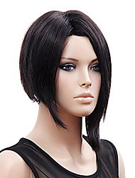 mode couleur noire courte perruque de cheveux raides perruques synthétiques de style rihanna nouvelle arrivée