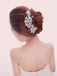 Women White Pearl Flower Hairpins Hair Sticker