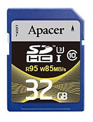 Apacer 32Go Classe 10 / UHS-I U3 SD/SDHC/SDXCMax Read Speed95 (MB/S)Max Write Speed85 (MB/S)