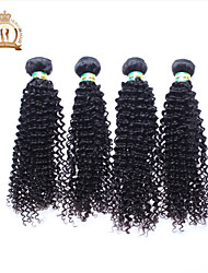 "4Pcs Lot 12-26"" Unprocessed Brazilian Virgin Hair Kinky Curly Wavy Curly Natural Black Remy Human Hair Weave/Bundles"