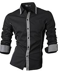 Chemises informelles ( Coton/Viscose ) Vintage/Informel/Soirée/Travail Manches longues pour Homme