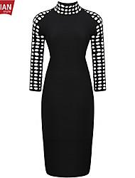 YUEMIAN™ Women's Long Sleeve Slim High Neck Sexy Dresses