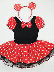 Girls Kids Polka Dot Short Sleeve Ballet Tutu Cotton Leotard Skate Dancewear Birthday Dress China SZ 2-10Y Choose