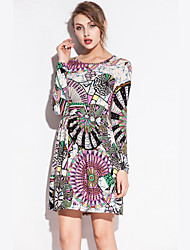 SWIMMART Hot Sale 2015 Fashion Print O Neck Models Waist Wrinked One Piece Stretch Cotton Dress