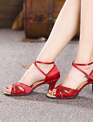 Scarpe da ballo - Non personalizzabile - Donna - Latinoamericano - Tacco cubano - Satin / Paillettes - Rosso / Argento / Oro