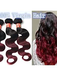 Mix Length Brazilian Ombre Human Hair Body Wavy Two Toned #1B/Burg 8''-30'' Brazilian Virgin Ombre Hair