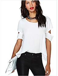 DONNE - T-shirt - Sexy/Informale/Feste Rotondo - Maniche corte Cotone/Maglia