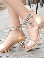 Sandales ( PU , Or/Argent ) Gros talon - 3-6cm pour Chaussures femme