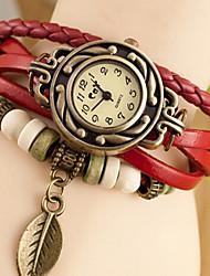 Mme. ceinture en cuir rétro laisse montres pendentifs