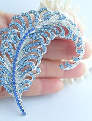 Wedding Accessories Silver-tone Blue Rhinestone Crystal Leaf Brooch Art Deco Crystal Brooch Bouquet Women Jewelry