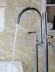 Two Handle Floor Standing Tub Faucet with Hand Shower - Chrome Finish