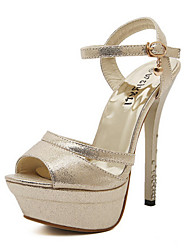 Women's Shoes Leatherette Stiletto Heel Heels/Peep Toe/Platform/Open Toe Sandals Party & Evening/Dress Silver/Gold