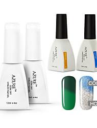 Azure 4 Pcs/Lot Soak-off Color Changing with Temperature UV LED Gel Polish Nail for Nail Beauty (#42+#46+BASE+TOP)
