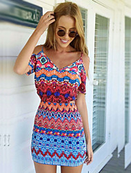 Women's V-Neck Dresses , Cotton Sexy/Bodycon/Casual/Cute Short Sleeve OoLl