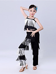 Latin Dance Performance Outfits Children's Fashion Performance/Training Polyester Tassel Outfit Fuchsia/Red/White Kids Dance Costumes