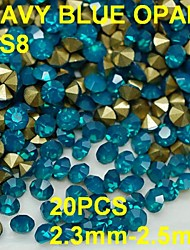 SS8 20pcs/lot 2.3mm-2.5mm Blue Opal Rhinestone Golden Pointback Nail 3D Rhinestones Decoration For Nail Jewelry