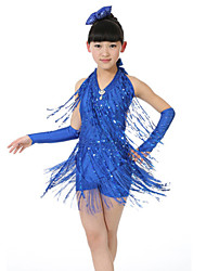Latin Dance Performance Dresses Children's Performance Polyester Sequins/Tassel Dress Blue/Fuchsia Kids Dance Costumes